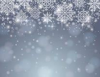 Fond gris avec des flocons de neige, vecteur