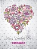 Fond gris avec le coeur de valentine du flo de ressort Images stock