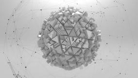 Fond gris avec le plexus et la forme géométrique illustration libre de droits