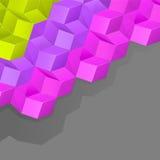 Fond gris avec les cubes multicolores en volume Images libres de droits