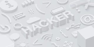 Fond gris du pirate informatique 3d avec des symboles de Web illustration stock