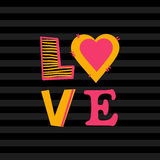 Fond gris-foncé avec amour de coeur et de mot Image libre de droits