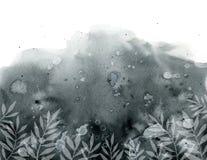 Fond gris noir avec les taches souillées et les usines blanches illustration libre de droits