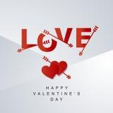Fond gris rouge de logotype de flèches d'amour Photo libre de droits