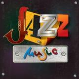 Fond grunge abstrait avec la musique de jazz des textes Image stock