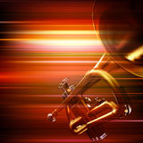 Fond grunge abstrait avec la trompette Images stock