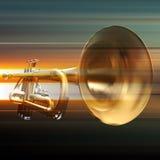 Fond grunge abstrait avec la trompette Photos stock