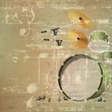 Fond grunge abstrait avec le kit de tambour Image libre de droits