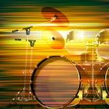Fond grunge abstrait avec le kit de tambour Photographie stock libre de droits