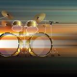 Fond grunge abstrait avec le kit de tambour Photos stock