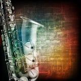 Fond grunge abstrait de piano avec le saxophone Photos libres de droits