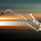 Fond grunge abstrait de piano avec le saxophone Images stock