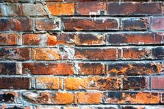 Fond grunge abstrait - vieux mur de briques rouge Photo libre de droits