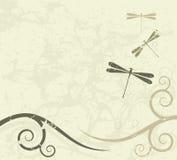 Fond grunge avec des libellules Photos libres de droits