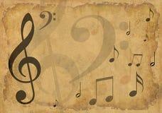 Fond grunge avec des symboles musicaux Photographie stock libre de droits