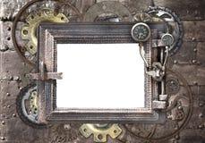 Fond grunge avec le cadre métallique images libres de droits