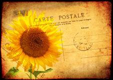 Fond grunge avec le vieux papier de texture et carte postale de vintage Image stock