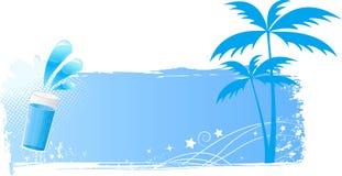 Fond grunge bleu avec les paumes et la glace d'eau Image libre de droits