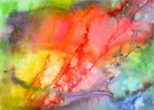 Fond grunge d'aquarelle dans des couleurs d'arc-en-ciel Affiche de vintage, bannière, page d'album Texture de papier âgée faite m Photographie stock libre de droits