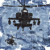 Fond grunge d'armée avec l'hélicoptère Vecteur Photos libres de droits