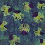 Fond grunge de batik d'art floral Couleurs en pastel de Stylization, aquarelles Contexte texturisé de vintage avec le bleu, viole Photo stock