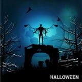 Fond grunge de Halloween avec l'ange mauvais et la lune Photographie stock