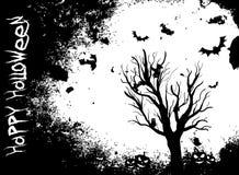 Fond grunge de Halloween avec l'arbre et les battes Photo stock