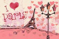 Fond grunge de Paris avec Tour Eiffel Image stock