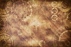 Fond grunge de Steampunk, éléments punks de vapeur sur le dos sale Photographie stock