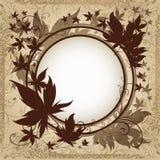 Fond grunge de vecteur avec des lames d'automne. Photographie stock libre de droits