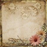 Fond grunge de vintage avec des fleurs Image libre de droits