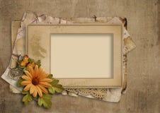 Fond grunge de vintage avec le vieux cadre et fleurs photographie stock libre de droits