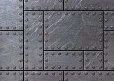 Fond grunge en métal avec des rangées des boulons, 3d, illustration Photographie stock