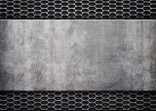 Fond grunge en métal avec la plaque de métal brillante, 3d, illustration Images stock