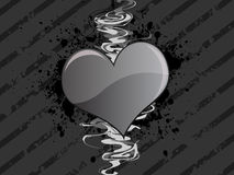 Fond grunge gris de coeur Photo stock