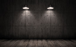 Fond grunge industriel avec des plafonniers d'éclairage Image stock