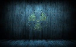 Fond grunge industriel avec le symbole de rayonnement Images stock