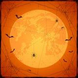 Fond grunge orange de Halloween avec la lune et les araignées illustration de vecteur