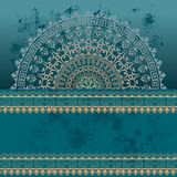 Fond grunge oriental bleu de mandala de henné Image stock