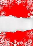 Fond grunge rouge de flocons de neige Photos stock