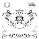 Fond héraldique pour le tissu de logo, d'emblème, de lion et de bouclier, Photographie stock