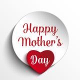 Fond heureux d'étiquette de coeur de fête des mères Image libre de droits