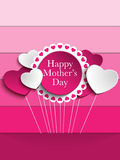 Fond heureux d'étiquette de coeur de fête des mères Images stock