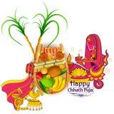 Fond heureux de Chhath Puja Holiday pour le festival de Sun de l'Inde illustration de vecteur