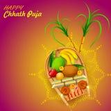 Fond heureux de Chhath Puja Holiday pour le festival de Sun de l'Inde illustration libre de droits