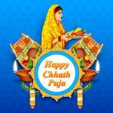 Fond heureux de Chhath Puja Holiday pour le festival de Sun de l'Inde illustration stock