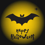 Fond heureux de Halloween avec la batte, l'araignée et la lune illustration libre de droits