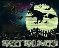 Fond heureux de Halloween avec la sorcière et le cimetière illustration stock