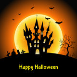 Fond heureux de Halloween avec le château et la lune illustration stock
