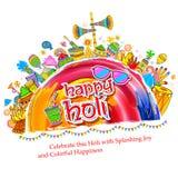 Fond heureux de Holi pour le festival des salutations de célébration de couleurs illustration stock